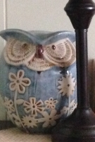blue flowered porcelain owl