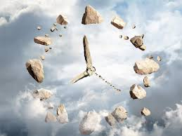 floating rock clock in the sky